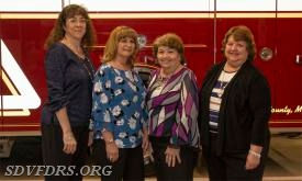 The SDVFDRS 2018 Auxiliary Officer are from left to right; Robin Dove, President; Janie Stauffer, Vice President; Cheryl Colson, Recording Secretary and Susan Joy, Historian. Not shown are Sherry Pickeral, Treasurer and Becky Boyer, Corresponding Secretary.
