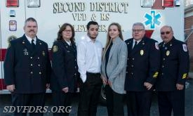 The SDVFDRS 2018 EMS officers are from left to right: Dan Browne , Assistant Chief Rescue, Cathy Caulder, EMS Captain, Jack Axtell, EMS Lieutenant, Georgette Savage, EMS  Lieutenant, JP Caulder, President and Gary Joy, Chief.