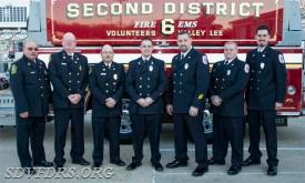 "The SDVFDRS 2018 Fire Officers are from left to right: Gary Joy, Chief, Lyn ""Redtop"" Henderson, Assistant Chief, Robbie Springer, Deputy Chief, Jake Walker, Senior Captain, Billy Trossbach, Captain, Dylan Walker, Senior Lieutenant and Aaron Nelson, Lieutenant. Not shown is Mike Scrivener, Water Supply."