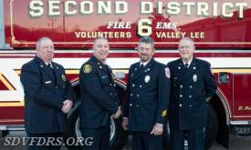 The 2018 SDVFDRS Engineers are from left to right: Bobby Stauffer, Chief Engineer, Eddie Stauffer, Fire Engineer, James Barnes, Sr., Fire Engineer and John Guy, Fire Engineer. Not shown are John Caulder, EMS Engineer, Mike Johnson, EMS Engineer and John Schirmacher, EMS Engineer.